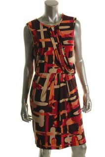 Donna Morgan New Multi Color Matte Jersey Side Drape Wear to Work