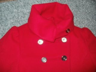 Next Girls Smart Winter Wool Look Red Coat Lovely Design Age 7 8 Years