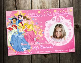 Disney Princess Birthday Party Invitation Photo Card Custom Invites