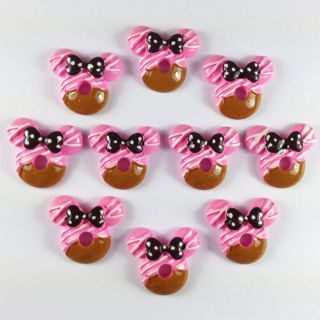 10pcs Resin Donut Minnie Mouse Flatbacks Scrapbooking Hair Bow Center
