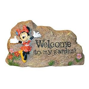 DISNEY GARDEN ROCK LAWN ORNAMENT WELCOME SIGN STATUE OUTDOOR   MINNIE