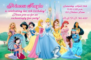 Disney Princess Photo Birthday Party Invitation   15 DESIGNS