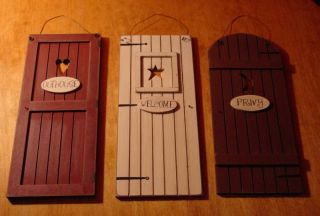 Country Primitive Wood OUTHOUSE Doors Privy Bathroom Decor Signs NEW