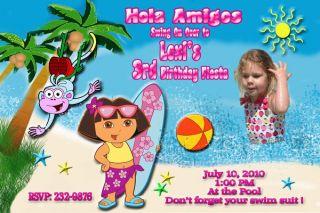 Pool Party Custom Birthday Invitation Mickey Dora