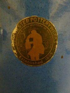 Antique Art Pottery Vase Dorchester Pottery Original Label Blue Glaze