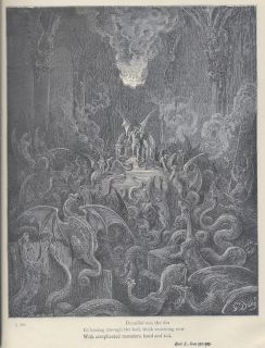 GUSTAVE DORE Lucifer Dragons 19th c wood engraving Print Milton Goth