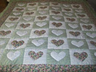 Handmade Heart Quilt, Lite Green, Floral Print, White Eyelet
