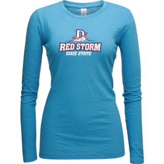 Dixie State Red Storm Turquoise Womens Logo Vintage Long Sleeve T