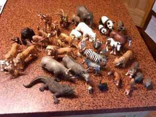 Huge Lot Set Box of 41 Schleich Farm Zoo Horses Wild Animals Germany