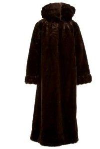 New Womens Donnybrook Faux Fur Coat Jacket Long Coat Brown Small S