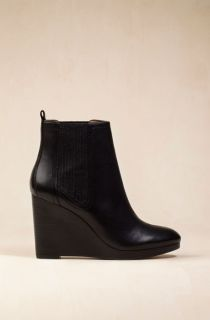 MASSIMO DUTTI Black Leather Chelsea Wedge Ankle Boots EUR 37 US 6 5 UK