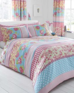 Double Bed Duvet Cover P Case Bedding Set Country Floral Shabby Chic