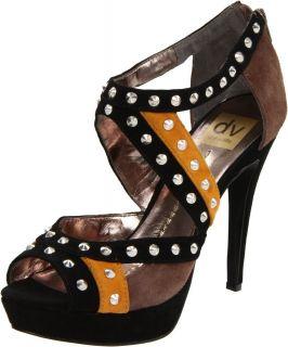 DV by Dolce Vita Womens Britt Platform Silver Stud Suede Sandal