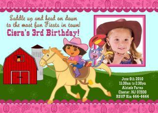 Dora The Explorer Photo Custom Birthday Invitations
