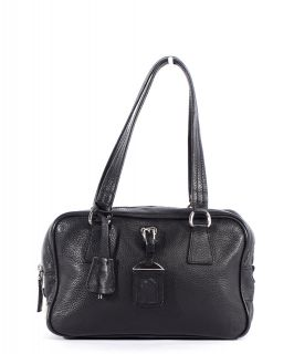 prada black leather medium doctor satchel bag