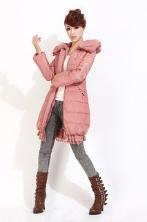 Womens Real Fur Down Coat Hooded Jacket Winter Warm Parka Puffer Pink