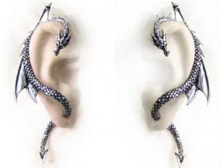 of Alchemy Gothic Pewter The Dragons Lure Wrap Cuff Earrings