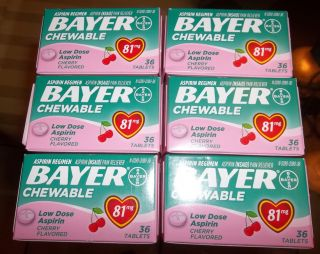 Lot of 6 Boxes Bayer Low Dose Cherry Baby Aspirin 81 MG Chewable 216