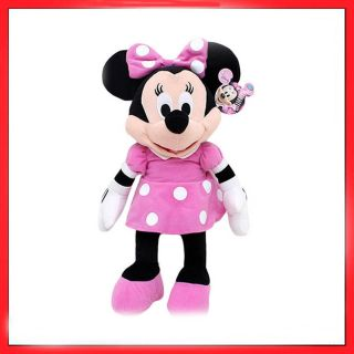 Disney Clubhouse Minnie Mouse Pink Polka Dot Dress Bow Plush Doll Toy