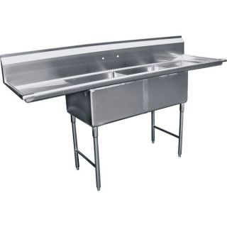 Compartment Stainless Steel Sink 24x24 2 Drainboard