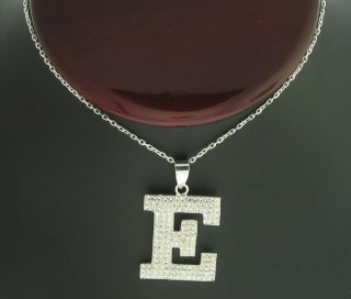 Sterling Silver Letter Initial Pendant Crystal Stones
