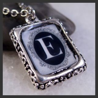 Initial Letter E Vintage Silver Square Setting Charm Pendant Necklace