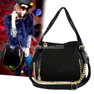 Fashion Womens Chain Decor PU Leather Square Handbag Shoulder Bag