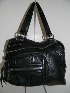Gwen Stefani L A M B CORSAIRE VANE Black Leather Satchel Handbag
