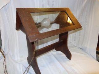 UNIQUE Antique ARTS & CRAFTS Mission Table Lamp Wooden Glass Panels