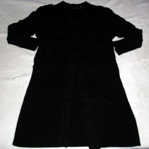 DOLCE CABO Long 3/4 Sleeve, Fitted Stretchy Black CARDIGAN SWEATER