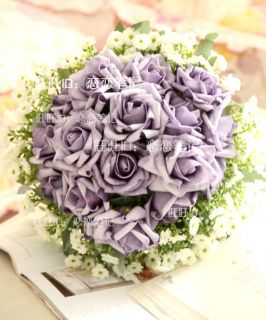 33cm 13 Diameter Blue Pink Artificial Silk Wedding Bridal Rose Flower