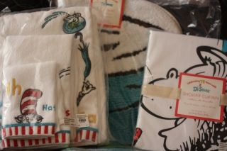 Barn Kids Dr Seuss Shower Curtain Bath Mat Towels 5 PC Set