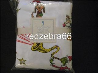 Pottery Barn Kids Dr. Seuss Grinch Flannel Twin Sheet Set Christmas