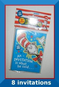 Dr Seuss CAT in the HAT party Invitation   8 pack   birthday baby