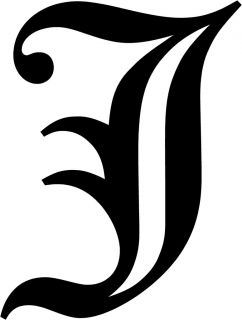 Old English Letter J Initial Decal 3 75 Choose Color