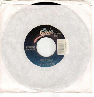 DON JOHNSON Heartbeat Cant Take Your Memory 45 RECORD Miami Vice Vinyl