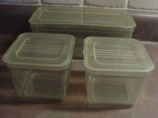 Vintage Hutzler 3 Green Plastic Food Storage Containers