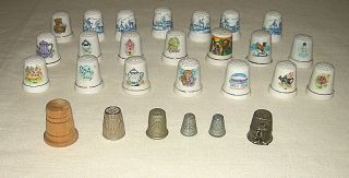 Huge Lot 27 Vintage Sewing Thimbles Porcelain Metal Wood NICE