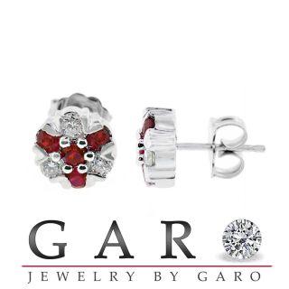 80 Carat Cluster Flower Ruby Diamonds Stud Earrings 14k White Gold
