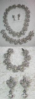 Clear Choker Necklace Earring Bracelet Set Bridal Wedding Party Prom