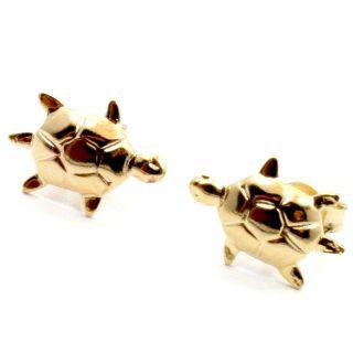 Gold 18K GF Tiny Lucky Turtle Earrings Baby Girl Kids Toddler Stud
