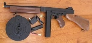 Quality Thompson M1 A1 Airsoft Auto Electric Gun with 2 Magazine Wood