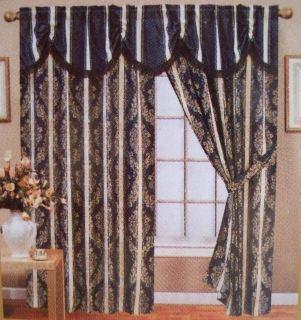 Luxurious Navy Blue Jacguard Curtain W Attached Valance Tieback
