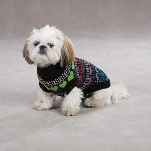 East Side Collection Warm Hearts Peace Sign Dog Sweater