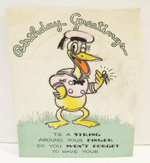 Donald Duck 1936 Hallmark Birthday Greeting Card Walt Disney Great