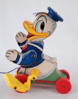 Estate 1940s Vintage Fisher Price Walt Disney Donald Duck Pull Toy