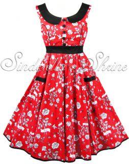 Hell Bunny Red Evita Love Bird 50s Rock Roll Prom Party Dress XS XL 6