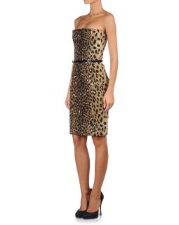 Dsquared Animal Print Strapless Belted Corset Dress US s EU 40