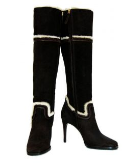 New $1600 Dsquared2 Brown Suede Boots with Fur 38 5 8 5 Italy