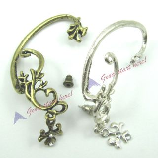 Rock Dragon Shape Flower Vine Rhinestone Ear Stud Cuff Earring